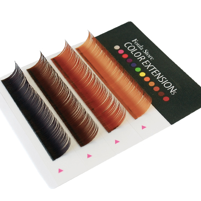 Color Lashes 4 Lines Brown MIX D Curl 10mm×0.10mm