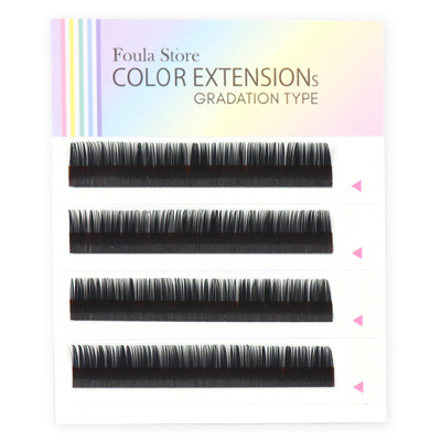 Color Lashes 4 Lines Ombre Green C Curl 12mm×0.15mm