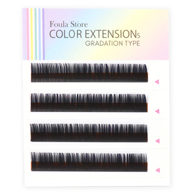 Color Lashes 4 Lines Ombre Purple C Curl 12mm×0.15mm