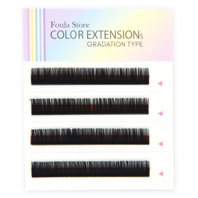Color Lashes 4 Lines Ombre Brown C Curl 12mm×0.15mm