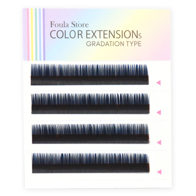 Color Lashes 4 Lines Ombre Blue C Curl 12mm×0.15mm
