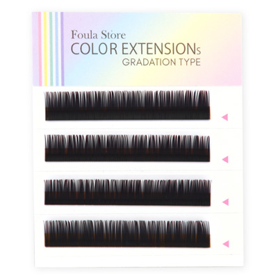 Color Lashes 4 Lines Ombre Red C Curl 10mm×0.15mm