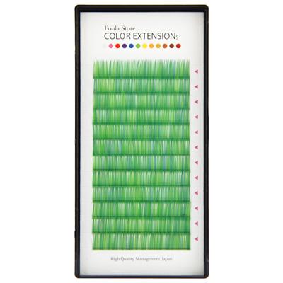 Color Volume Up Lash 12 Lines Random MIX Green J Curl 0.06mm×9mm