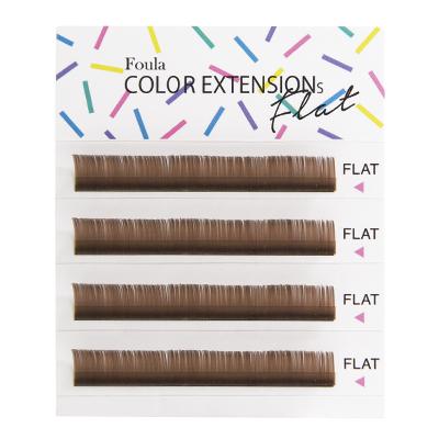 Color Flat Lash 4 Rows Sheet Light Brown J Curl 0.20mm×10mm